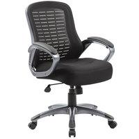 Boss B6756-BK Black Mesh High Back Ribbed Chair