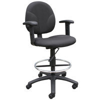 Boss B1691-BK Black Fabric Drafting Stool with Adjustable Arms and Footring