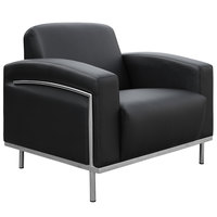 Boss BR99001-BK Black CaressoftPlus Lounge Chair with Chrome Frame