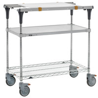 Metro MS1824-FGBR-PK1 PrepMate MultiStation with Cutting Board and Galvanized and Brite Zinc Wire Shelving - 26 inch x 19 3/8 inch x 39 1/8 inch