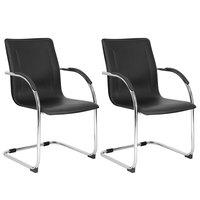 Boss B9530-2 Black Vinyl Side Chair with Chrome Frame - 2/Pack