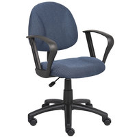Boss B317-BE Blue Tweed Perfect Posture Deluxe Office Task Chair with Loop Arms