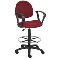Boss B1617-BY Burgundy Drafting Stool with Footring and Loop Arms