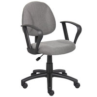 Boss B317-GY Grey Tweed Perfect Posture Deluxe Office Task Chair with Loop Arms