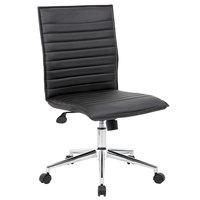 Boss B9534C-BK Black Vinyl Armless Hospitality Task Chair
