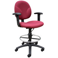 Boss B1691-BY Burgundy Fabric Drafting Stool with Adjustable Arms and Footring