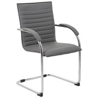 Boss B9536-GY-2 Grey Vinyl Ribbed Side Chair with Chrome Frame - 2/Pack