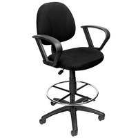 Boss B1617-BK Black Drafting Stool with Footring and Loop Arms