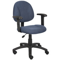 Boss B316-BE Blue Tweed Perfect Posture Deluxe Office Task Chair with Adjustable Arms