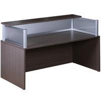 Boss N269G-DW Driftwood Laminate / Plexiglass Reception Desk Shell - 71 inch x 36 inch x 43 1/2 inch