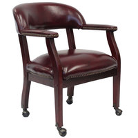 Boss B9545-BY Burgundy Vinyl Captain's Chair with Casters
