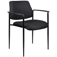 Boss B9503-BK Diamond Black Square Back Stacking Chair with Arms