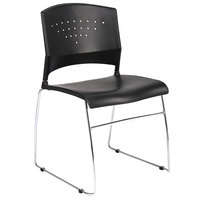 Boss B1400-BK-1 Black Stack Chair with Chrome Frame