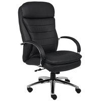 Boss B9222 Black CaressoftPlus High Back Executive Chair with Chrome Base and Knee Tilt