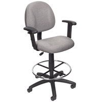 Boss B1616-GY Grey Drafting Stool with Footring and Adjustable Arms