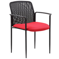 Boss B6909-RD Red Mesh Stackable Guest Chair with Arms