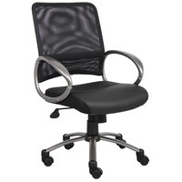 Boss B6406 Black Mesh Task Chair with Pewter Finish