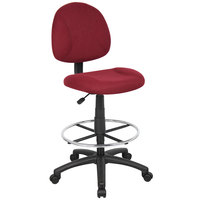 Boss B1615-BY Burgundy Armless Drafting Stool with Footring