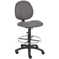 Boss B1690-GY Gray Fabric Drafting Stool with Footring