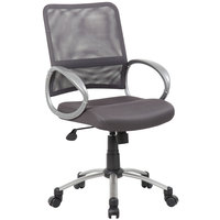 Boss B6416-CG Charcoal Grey Mesh Task Chair with Pewter Finish and Casters