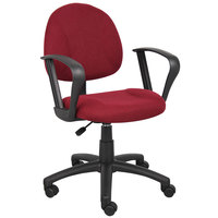 Boss B317-BY Burgundy Tweed Perfect Posture Deluxe Office Task Chair with Loop Arms