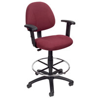 Boss B1616-BY Burgundy Drafting Stool with Footring and Adjustable Arms