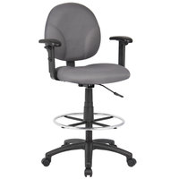Boss B1691-GY Gray Fabric Drafting Stool with Adjustable Arms and Footring