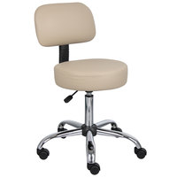 Boss Office B245-BG Beige Be Well Medical Professional Adjustable Stool with Back