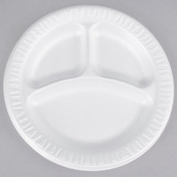 Dart 9CPWQR Quiet Classic 9 inch 3 Compartment White Laminated Round Foam Plate - 125/Pack