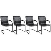 Boss B9535-4 Black Vinyl Side Chair with Black Frame - 4/Pack