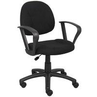 Boss B317-BK Black Tweed Perfect Posture Deluxe Office Task Chair with Loop Arms