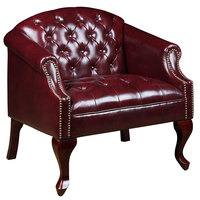 Boss BR99801-BY Oxblood Vinyl Classic Traditional Button Tufted Club Chair