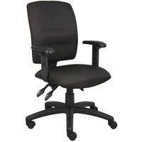 Boss B3036-BK Black Fabric Multi-Function Task Chair with Adjustable Arms