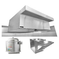 Halifax 421PSPHP1148 Type 1 11' x 48 inch Commercial Kitchen Hood System with PSP Makeup Air