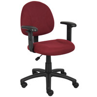 Boss B316-BY Burgundy Tweed Perfect Posture Deluxe Office Task Chair with Adjustable Arms