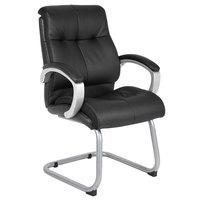 Boss B8779S-BK Black Double Plush Executive Guest Chair
