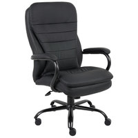 Boss B991-CP Black CaressoftPlus Heavy Duty Double Plush Chair