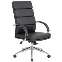 Boss B9401-BK Black CaressoftPlus High Back Executive Chair with Chrome Base