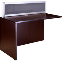 Boss N245G-M Mahogany Laminate / Plexiglass Reversible Reception Return Desk - 24 inch x 48 inch x 42 1/2 inch