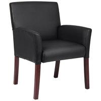 Boss B619 Black Box Arm Guest Chair with Mahogany Finish