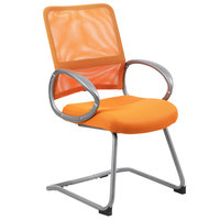 Boss B6419-OR Orange Mesh Guest Chair with Pewter Finish