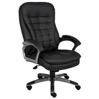Boss B9331 Black High Back Executive Pillow Top Chair with Pewter Finished Base and Arms