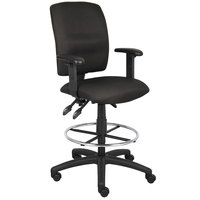Boss B1636-BK Black Multi-Function Fabric Drafting Stool with Adjustable Arms