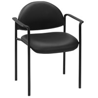 Boss B9501-CS Diamond Black Caressoft Stacking Chair with Arms