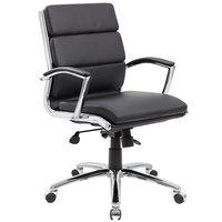 Boss B9476-BK Black CaressoftPlus Executive Mid-Back Chair