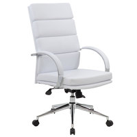 Boss B9401-WT White CaressoftPlus High Back Executive Chair with Chrome Base