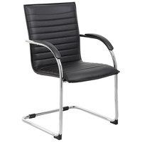 Boss B9536-BK-2 Black Vinyl Ribbed Side Chair with Chrome Frame - 2/Pack