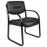 Boss B9529 Black LeatherPlus Sled Base Side Chair with Arms