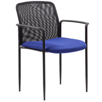 Boss B6909-BE Blue Mesh Stackable Guest Chair with Arms