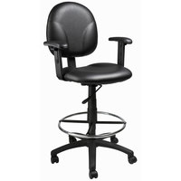 Boss B1691-CS Black Caressoft Fabric Drafting Stool with Adjustable Arms and Footring